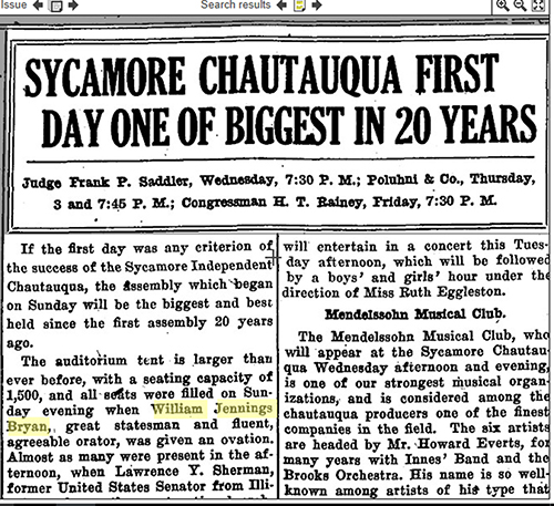 Sycamore True Republican , August 23, 1922.